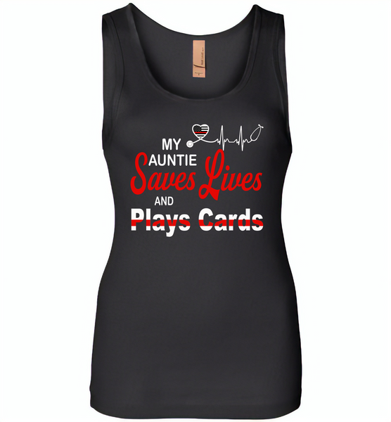 My Auntie Save Lives And Play Cards American Nurse Life - Womens Jersey Tank