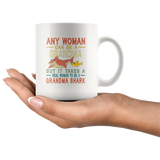 Any woman can be a grandma but it takes a real woman to be a grandma shark gift vintage funny white coffee mugs