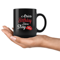 Aries Birthday Diva Slay Lip Black Coffee Mug
