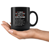 5 things you should know my girlfriend Queen, Tattoos, loves dogs funny gift coffee mug