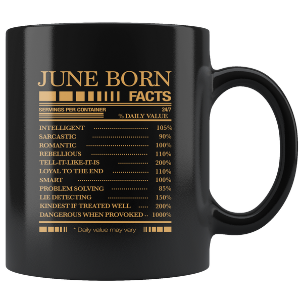 June born facts servings per container, born in June, birthday gift black coffee mug