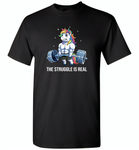 Unicorn Weightlifting Fitness Gym Deadlift Rainbow, The Struggle Is Real - Gildan Short Sleeve T-Shirt