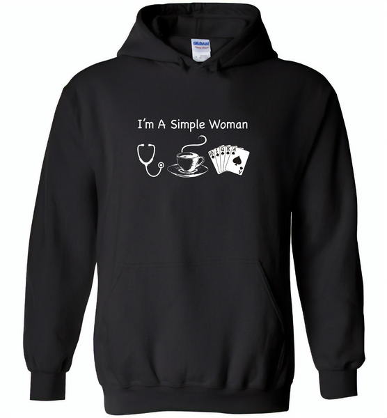 Nurse I am a simple woman like coffee and play card - Gildan Heavy Blend Hoodie