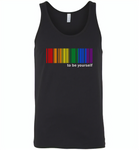 LGBT Barcode to be yourself rainbow gay pride - Canvas Unisex Tank