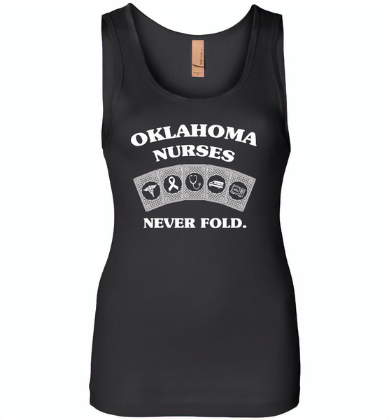 Oklahoma Nurses Never Fold Play Cards - Womens Jersey Tank