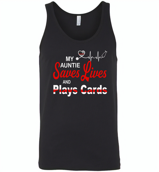 My Auntie Save Lives And Play Cards American Nurse Life - Canvas Unisex Tank