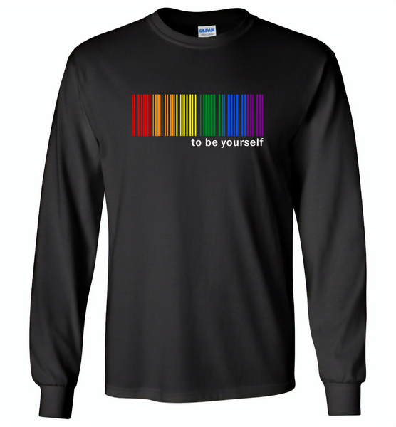 LGBT Barcode to be yourself rainbow gay pride - Gildan Long Sleeve T-Shirt