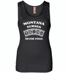 Montana Nurses Never Fold Play Cards - Womens Jersey Tank
