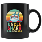 Vintage Retro Uncle Shark doo doo doo black gift coffee mugs