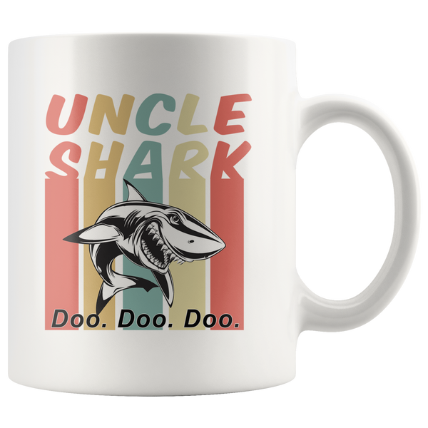 Retro Vintage uncle shark doo doo doo white gift coffee mug