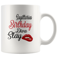 Saggitarius Birthday Diva Slay Lip White Coffee Mug