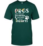 Dogs Come Into Our Lives And Leave Paw Prints On Our Hearts Funny Gift For Dogs Lover Girlfriend Bestfriend Women T Shirt