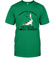 I'm Mostly Peace Love And Light Little Go Fuck Yourself Unicorn T Shirts For Women