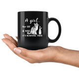A girl her cat and wine it is beautiful thing black coffee mug gift
