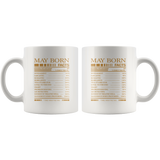May born facts servings per container, born in May, birthday gift white coffee mug