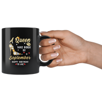 A Queen was born in September, cute birthday black gift coffee mug