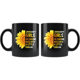 January girls are sunshine mixed with a little Hurricane sunflower, born in January black coffee mug