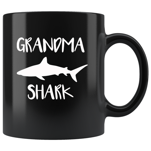 Grandma shark gift black coffee mug