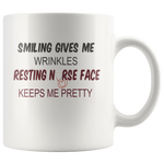 Smiling gives me wrinkles resting nurse face keeps me pretty gift white coffee mugs