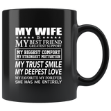 My Wife Is My Best Friend My Greatest Support Funny Sarcastic Gift From Husband Men Black Coffee Mug