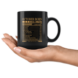 October born facts servings per container, born in October, birthday gift black coffee mug