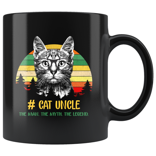 Vintage cat uncle the man the myth the legend black gift coffee mug
