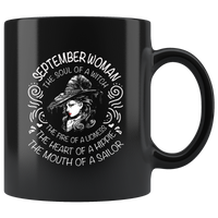September Woman The Soul Of A Witch The Fire Lioness The Heart Hippie The Mouth Sailor gift black coffee mugs