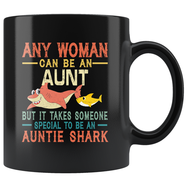Someone special to be an Auntie shark vintage gift black coffee mug for aunt