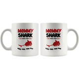 Mommy shark needs a drink wine gift white coffee mug