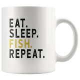 Eat sleep fish repeat white gift coffee mug