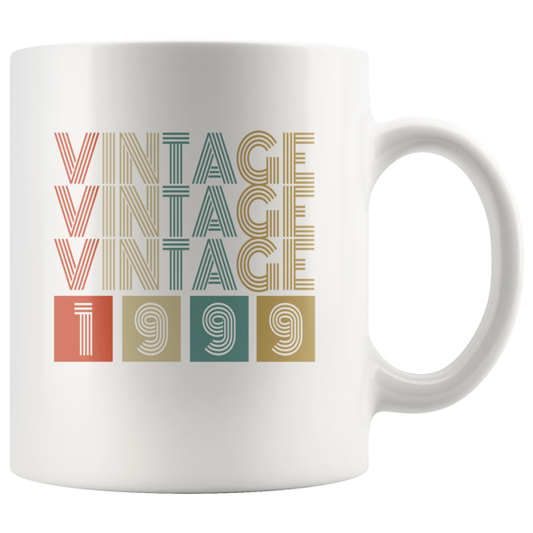 Vintage 1999 birthday white gift coffee mug