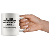 In 1920 women won the right to vote don't waste it white coffee mug