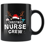 Christmas nurse crew Hat Santa claus Reindeer gift funny black coffee mug