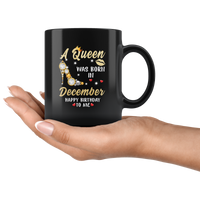 A Queen was born in December, cute birthday black gift coffee mug