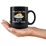 Dog I like to stay in bed it's too peopley outside black gift coffee mug