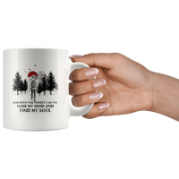 Hiking camping and into the forest i go to lose my mind and find my soul men coffee mug