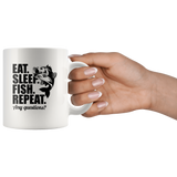 Eat Sleep Fish Repeat Any Questions Fishing Lover Funny Gift For Men Women White Coffee Mug