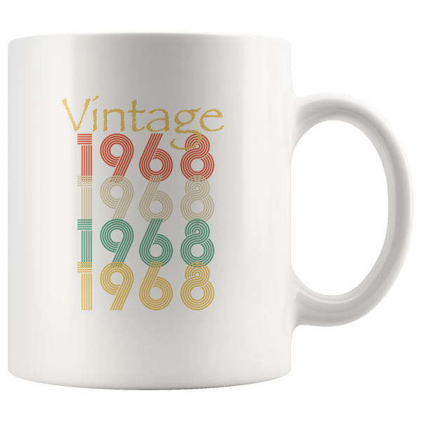Vintage 1968, happy birthday white gift coffee mug