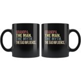 Grandpa the man the myth the bad influence vintage black gift coffee mug