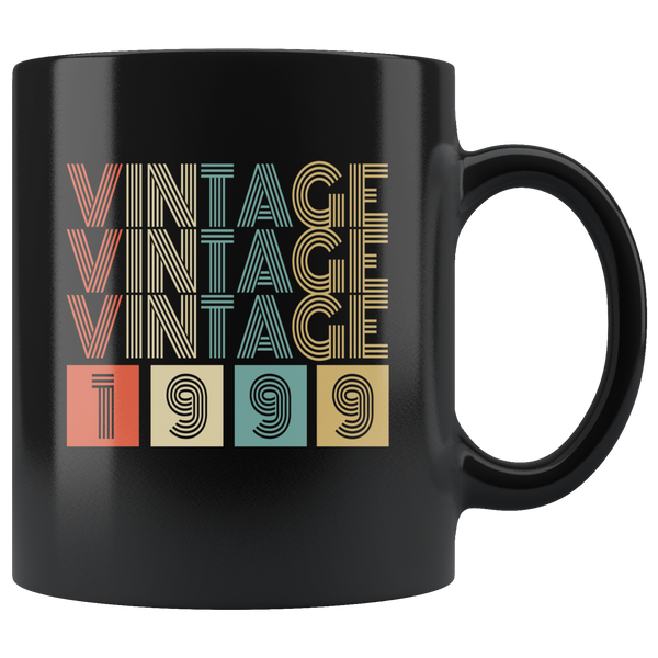 Vintage 1999 birthday black gift coffee mug