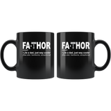 Fathor like a dad just way cooler, father's day black gift coffee mug