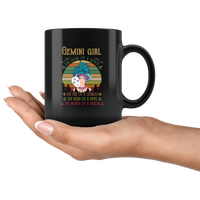 Gemini girl the soul of a witch fire lioness heart hippie mouth sailor vintage black gift coffee mug