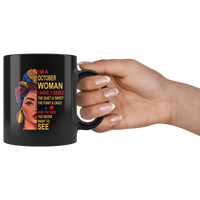 October woman three sides quiet, sweet, funny, crazy, birthday black gift coffee mug