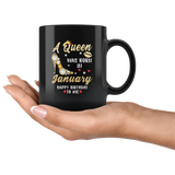 A Queen was born in January, cute birthday black gift coffee mug