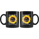Scorpio Girl Sunflower Will Keep It Real 100% Prideful Loyal To A Fault Will Bury You With A Smile Black Coffee Mug