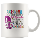 A Grandma Cannot Survive On Self-Quarantine Alone She Also Needs Her Grandkids Gnome Quarantine Mothers Day Gift White Coffee Mug