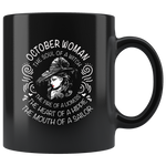 October Woman The Soul Of A Witch The Fire Lioness The Heart Hippie The Mouth Sailor gift black coffee mugs
