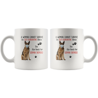 A Woman Can Not Survive On Self Quarantine Alone She Needs Her German Shepherd 2020 Virus Funny GIft For Dog Lover Women White Coffee Mug