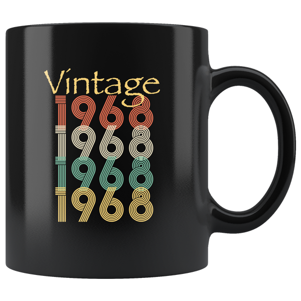 Vintage 1968, happy birthday gift black coffee mug