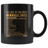March born facts servings per container, born in March, birthday gift black coffee mug